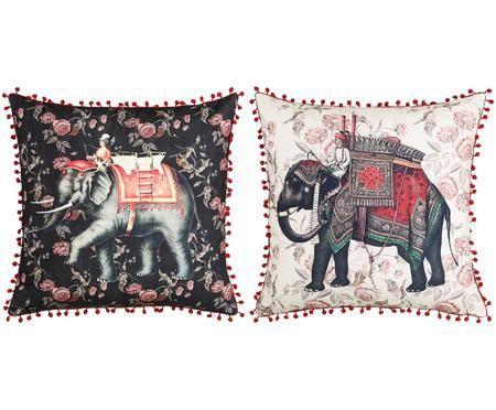 Kissen 2er Set Conecuh mit Elefantenmotiven, mit Inlett
