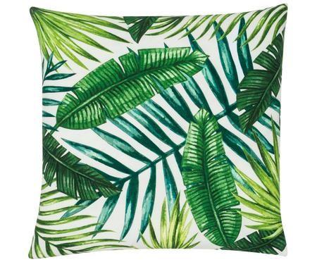 Kissenhülle Jonna mit tropischem Muster in Grün/Weiß