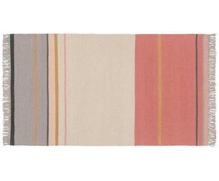 Petit tapis en laine à franges, tissé à la main Metallum