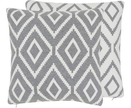 Strick-Wendekissenhülle Chuck mit grafischem Muster in Grau/Weiß