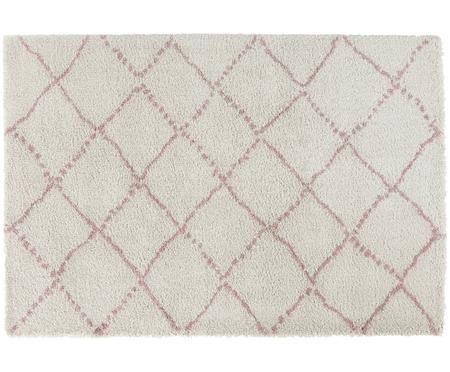 Flauschiger Hochflor-Teppich Hash in Rosa-Creme