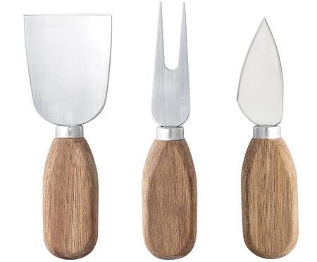 Couteaux à fromage argentés avec manche en bois Chase, 3élém.