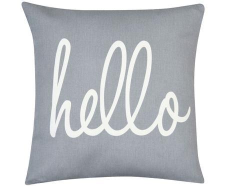 Kissenhülle Hello mit Schriftzug in Grau/Weiß