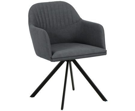 Chaise pivotante à accoudoirs, en cuir synthétique Lola