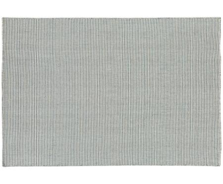 Fijn gestreepte wollen vloerkleed Ajo in blauw-crèmekleur, handgeweven