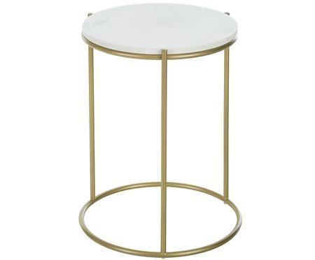 Tavolino rotondo con piano in marmo Ella
