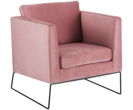 Poltrona classica in velluto rosa Milo
