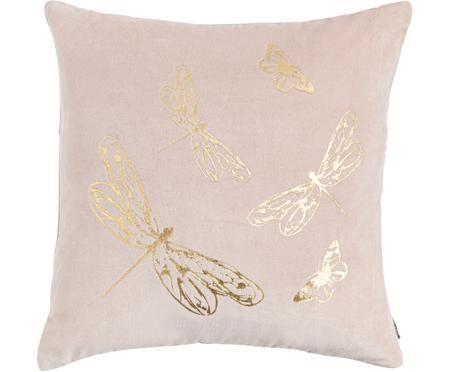 Rosa Samt-Kissen Butterfly mit goldenem Print, mit Inlett