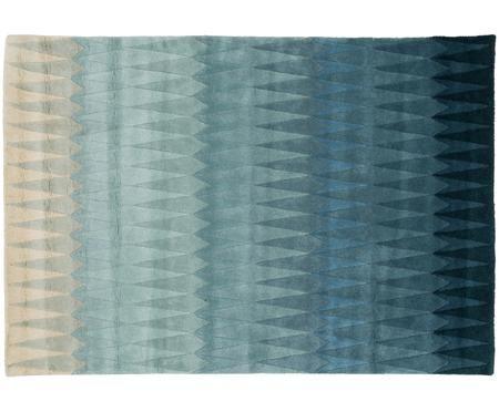 Handgetuft design vloerkleed Acacia met kleurverloop in blauw van wol