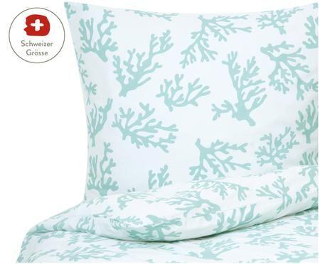 Baumwollsatin-Bettdeckenbezug Cora mit Korallen