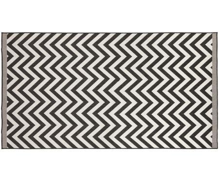 In- und Outdoor-Wendeteppich Palma in Schwarz-Weiß mit Zickzack-Muster