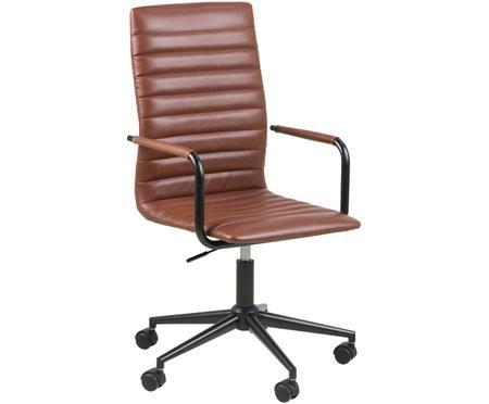 Sedia girevole da ufficio in similpelle Winslow, regolabile in altezza