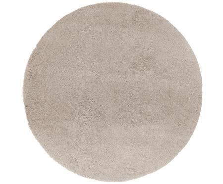 Rond hoogpolig vloerkleed Leighton in beige