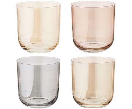 Komplet kolorowych szklanek do wody Polka, 4 elem.
