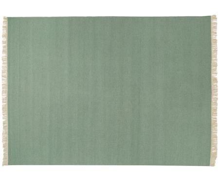 Handgeweven wollen vloerkleed Rainbow in groen met franjes