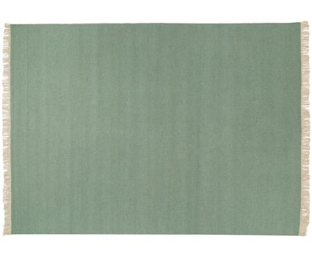 Tappeto in lana tessuto a mano Rainbow in verde con frange