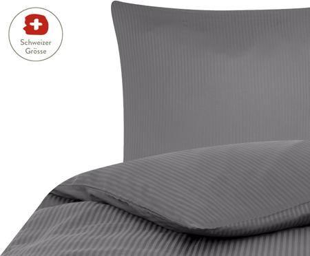 Satinstreifen-Bettdeckenbezug Stella in Dunkelgrau