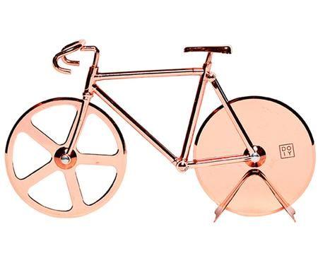 Kupferfarbener Pizzaschneider Velo im Fahrraddesign aus Edelstahl