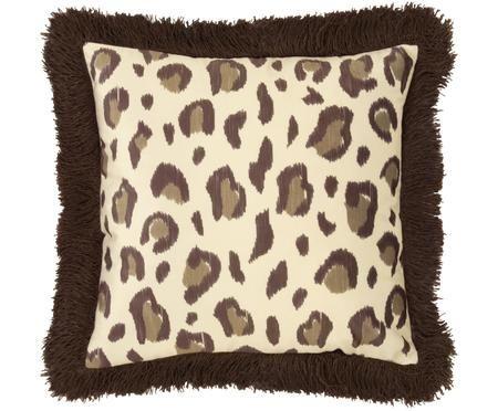 Samt-Kissenhülle Bonzo mit Leopardenprint und Fransen