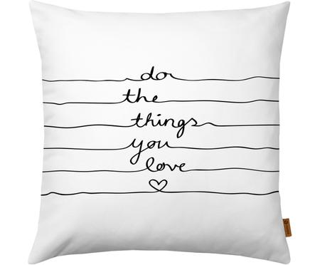 Kissenhülle Do The Things You Love mit Schriftzug