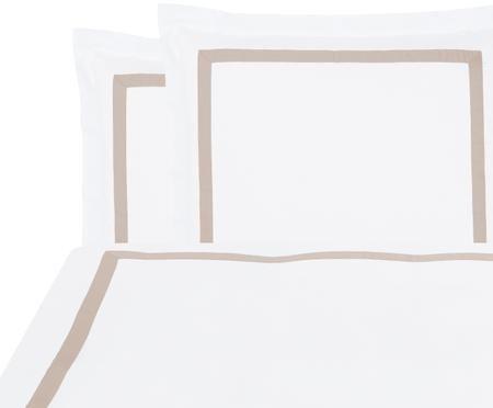 Baumwollsatin-Bettwäsche Nora in Weiß/Taupe