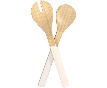 Bambus Salatbesteck Tina mit weissen Griffen, 2er-Set