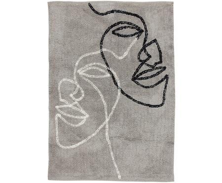 Katoenen vloerkleed Visage met abstracte one line tekening