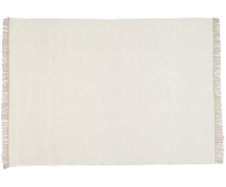 Ręcznie tkany dywan z wełny z frędzlami Rainbow