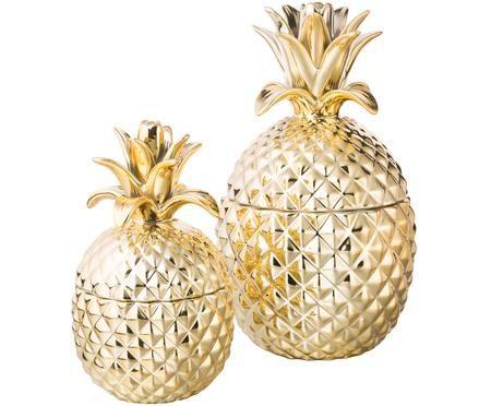 Opbergpotten set Pineapple, 2-delig