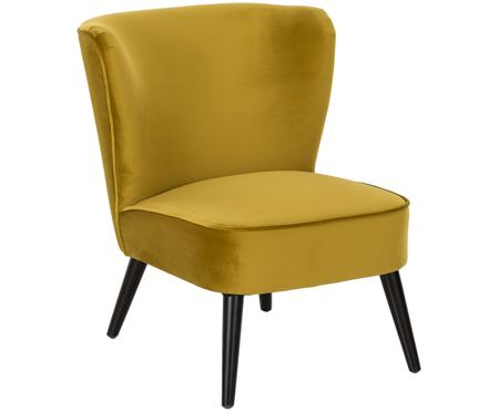 Fluwelen cocktail fauteuil Robine in olijfgeel