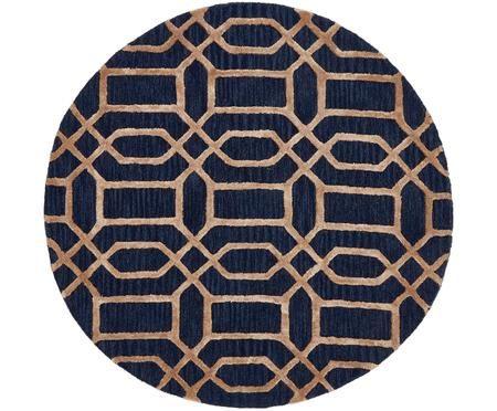 Tapis rond en laine à motif en relief Vegas