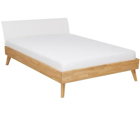 Łóżko z litego drewna z tapicerowanym zagłówkiem ze sztucznej skóry Simone