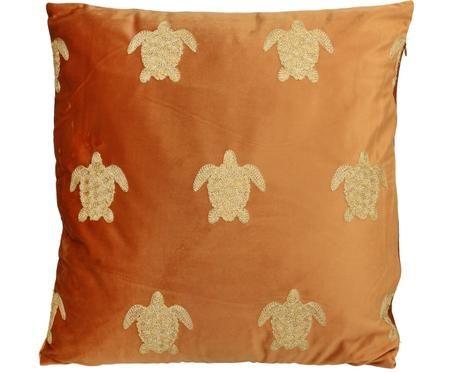 Besticktes Samt-Kissen Turtle, mit Inlett
