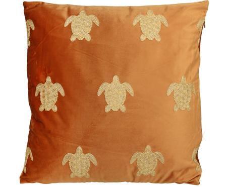 Cuscino in velluto ricamato con imbottitura Turtle