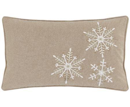 Kissenhülle Frosty mit Schneeflocken Stickerei und goldenen Perlen