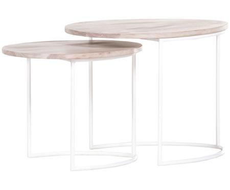Ensemble de 2 tables gigognes avec plateau en bois Emma