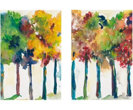 Diptico de impresiones digitales sobre lienzo Arboleda, 2 pzas.
