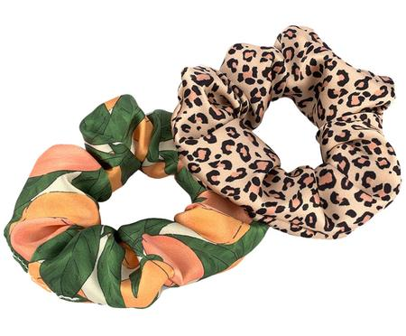 Set 2 scrunchies elastici per capelli Savannah & Peach