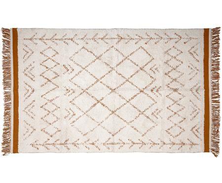 Tapis blanc-brun style ethnique à franges Everlasting