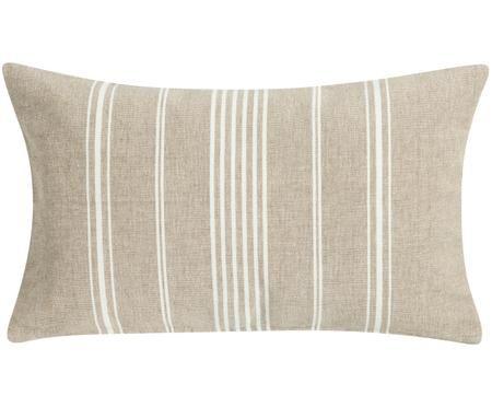 Kissen Uneven in Beige/Weiß mit Streifen, mit Inlett