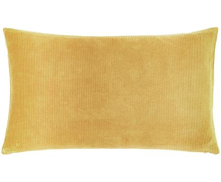 Einfarbige Cord-Kissenhülle Mikkel in Gelb