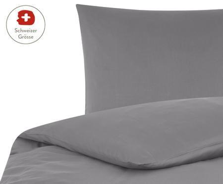 Baumwollsatin-Bettdeckenbezug Comfort in Dunkelgrau