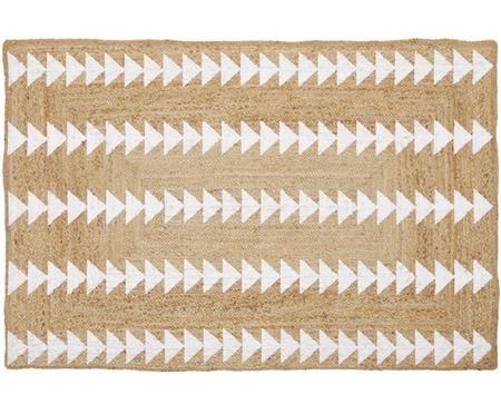 Handgefertigter Juteteppich Shakia in Beige-Weiß mit Muster