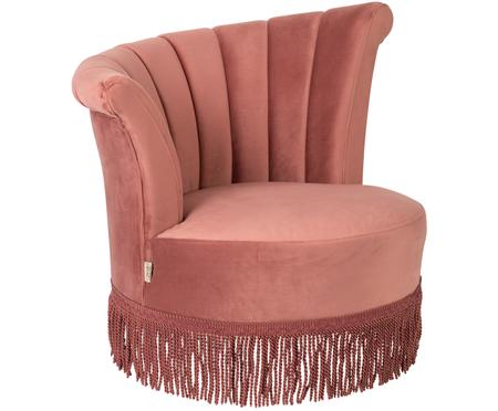 Fluwelen fauteuil Flair in roze