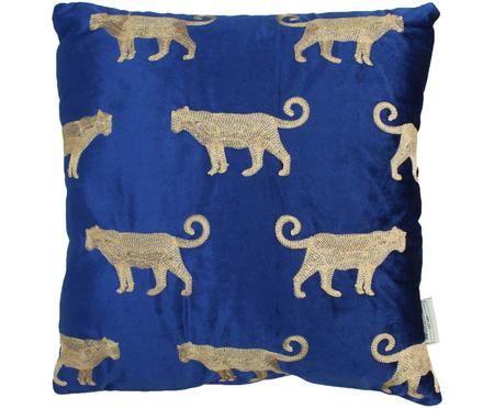 Coussin en velours bleu à broderies dorées Leopard