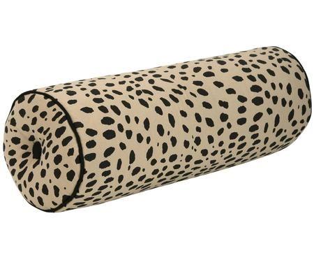 Nackenrolle Leopard mit schwarzem Keder, mit Inlett