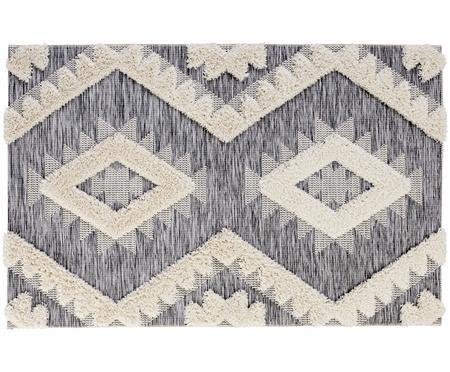 In- en outdoor vloerkleed Tiddas met hoog-laag effect in grijs-crèmekleur