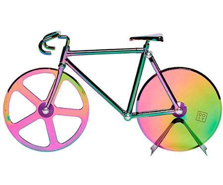 Irisierender Pizzaschneider Velo im Fahrraddesign aus Edelstahl