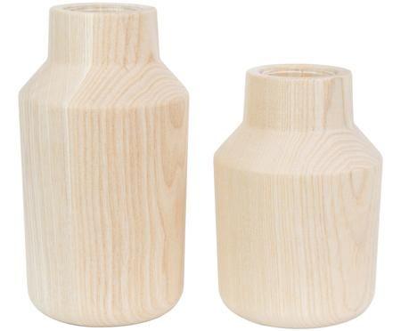 Vasen-Set Isa aus Eschenholz mit Glaseinsatz, 2-tlg.