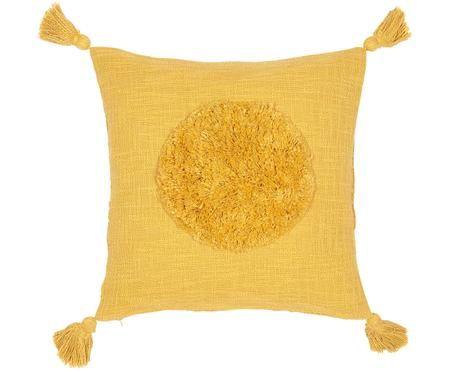 Kissenhülle Sun aus Bio-Baumwolle mit Tasseln